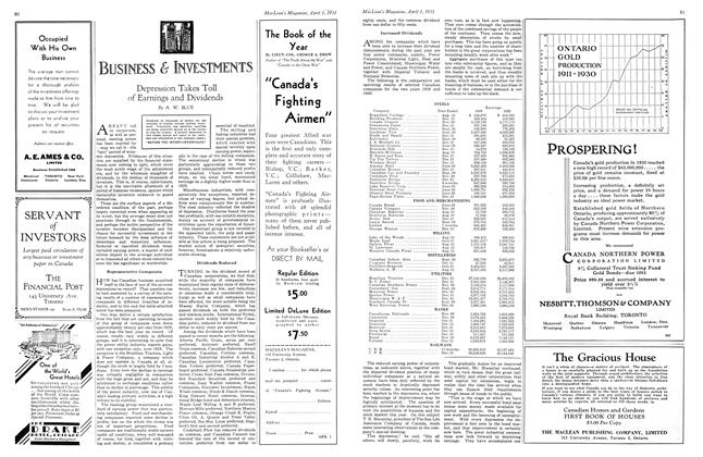 Article Preview: Depression Takes Toll of Earnings and Dividends, April 1931 | Maclean's