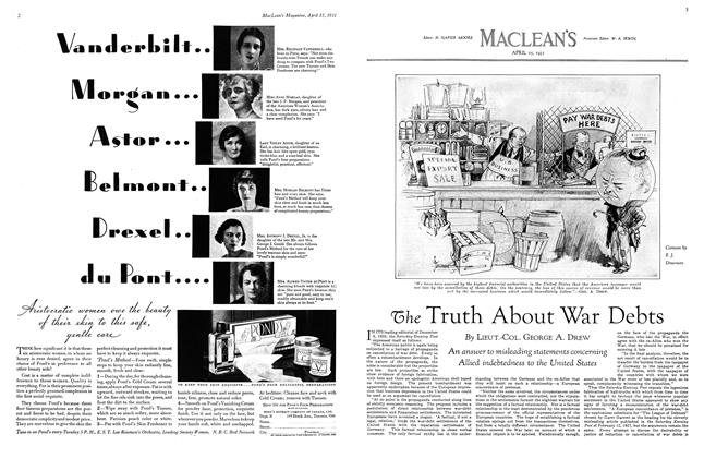 Article Preview: The Truth About War Debts, April 15th 1931 1931 | Maclean's