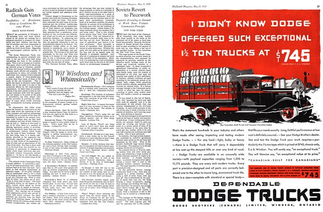 Article Preview: Soviets Revert to Piecework, May 15th 1931 1931   Maclean's