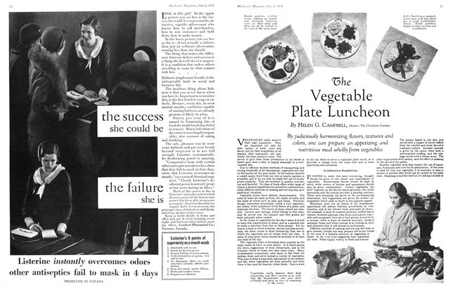 Article Preview: The Vegetable Plate Luncheon, June 1931 | Maclean's