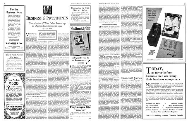 Article Preview: Cancellation of War Debts Looms up as Outstanding Economic Issue, June 1931 | Maclean's