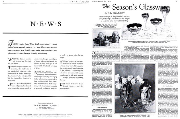 Article Preview: The Season's Glassware, July 1931   Maclean's