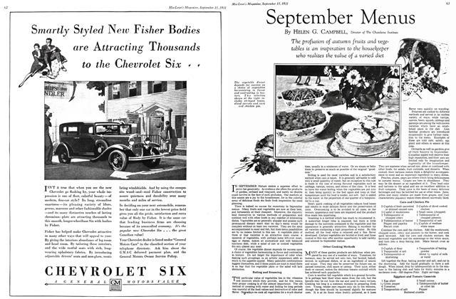 Article Preview: September Menus, September 1931 | Maclean's