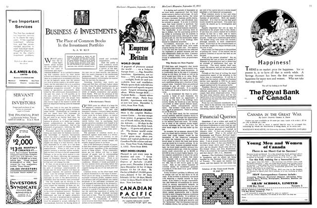 Article Preview: The Place of Common Stocks In the Investment Portfolio, September 1931 | Maclean's