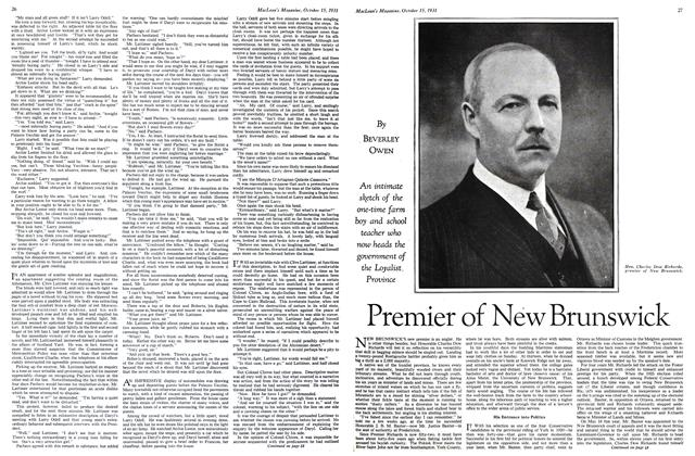 Article Preview: Premier of New Brunswick, October 15th 1931 1931 | Maclean's