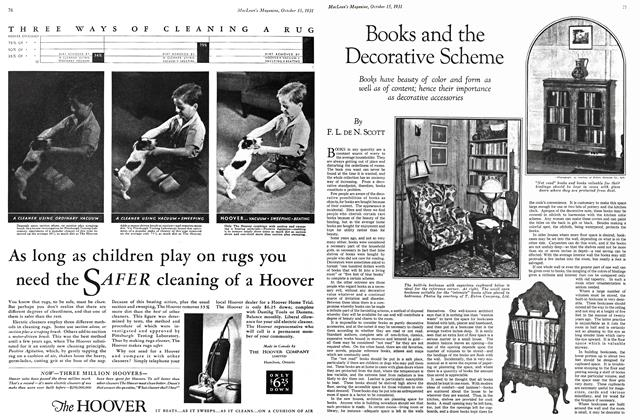 Article Preview: Books and the Decorative Scheme, October 15th 1931 1931 | Maclean's