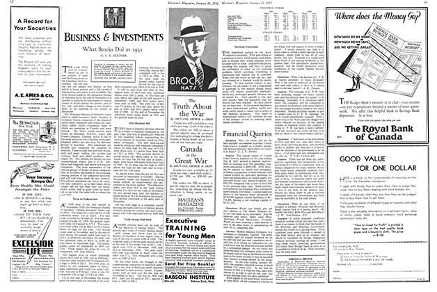 Article Preview: What Stocks Did in 1931, January 1932 | Maclean's