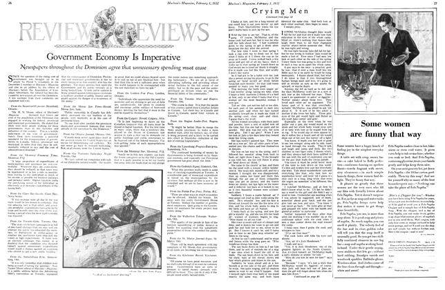 Article Preview: Government Economy Is Imperative, February 1st 1932 1932 | Maclean's