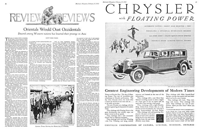 Article Preview: Orientals Would Oust Occidentals, February 15th 1932 1932 | Maclean's