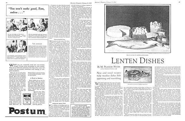 Article Preview: LENTEN DISHES, February 15th 1932 1932   Maclean's