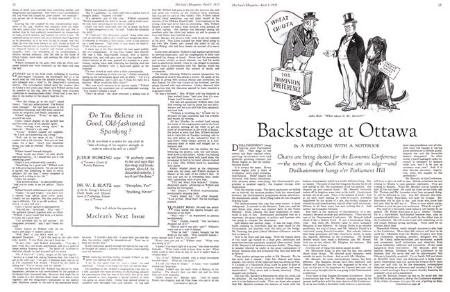 Article Preview: Backstage at Ottawa, April 1st 1932 1932   Maclean's