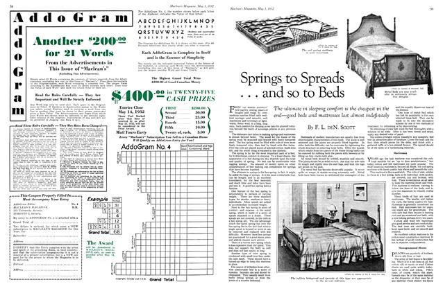 Article Preview: Springs to Spreads . . . and so to Beds, May 1st 1932 1932 | Maclean's