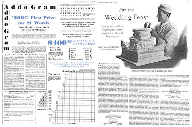 Article Preview: For the Wedding Feast, June 1st 1932 1932 | Maclean's