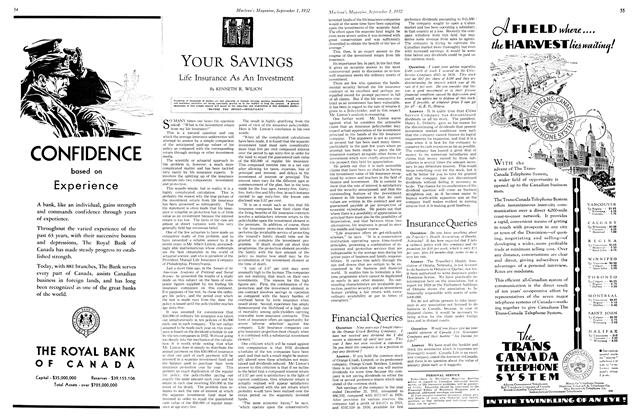 Article Preview: YOUR SAVINGS, SEPTEMBER 1st, 1932 1932 | Maclean's