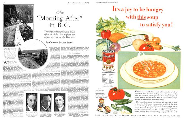"Article Preview: The ""Morning After"" in B. C., September 15th 1932 1932 