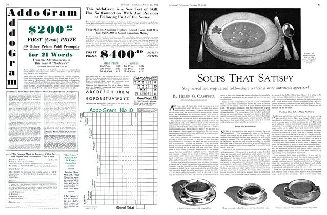 Article Preview: SOUPS THAT SATISFY, October 15th 1932 1932 | Maclean's