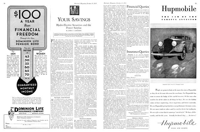 Article Preview: Hydro-Electric Securities and the Power Surplus, October 15th 1932 1932 | Maclean's