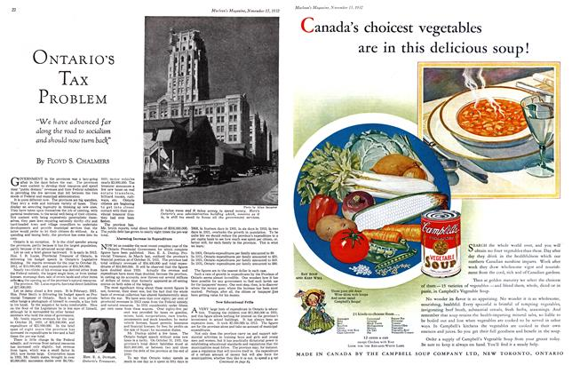 Article Preview: ONTARIO'S TAX PROBLEM, November 15TH 1932 1932 | Maclean's