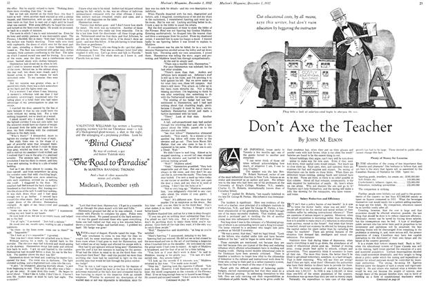 Article Preview: Don't Axe the Teacher, December 1ST 1932 1932 | Maclean's