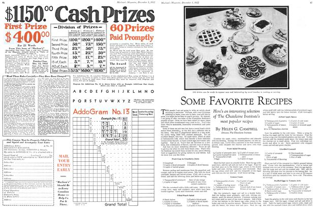 Article Preview: SOME FAVORITE RECIPES, December 1ST 1932 1932 | Maclean's