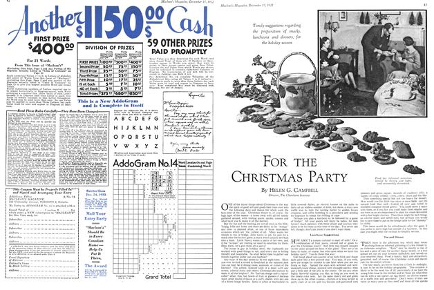 Article Preview: FOR THE CHRISTMAS PARTY, December 15TH 1932 1932 | Maclean's