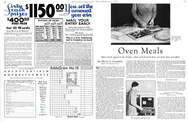 Article Preview: Oven Meals, January 1st 1933 1933 | Maclean's