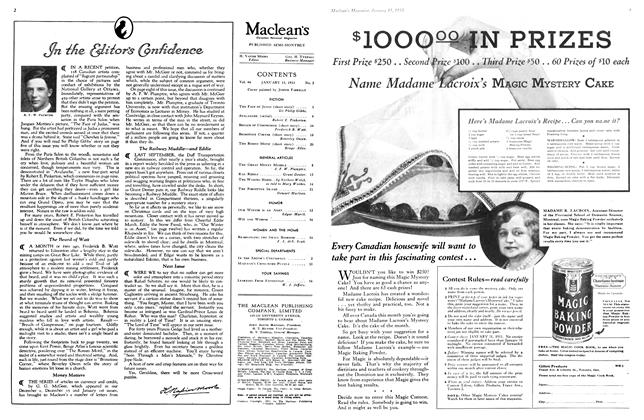 Article Preview: In The Editor's Confidence, January 15TH 1933 1933 | Maclean's
