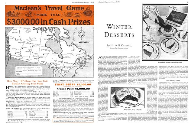 Article Preview: WINTER DESSERTS, February 1ST 1933 1933 | Maclean's