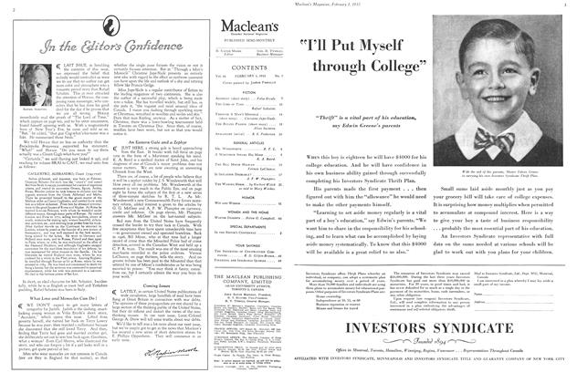 Article Preview: In the Editor's Confidence, February 1ST 1933 1933   Maclean's