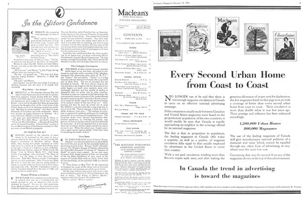 Article Preview: In the Editor's Confidence, February 15TH 1933 1933 | Maclean's