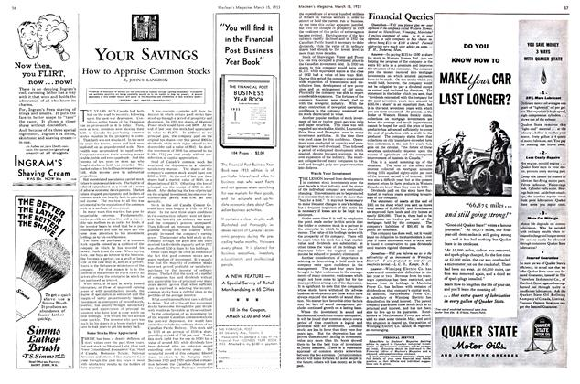 Article Preview: How to Appraise Common Stocks, March 15th 1933 | Maclean's