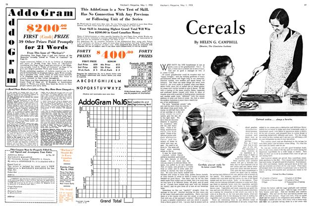 Article Preview: Cereals, May 1st 1933 | Maclean's