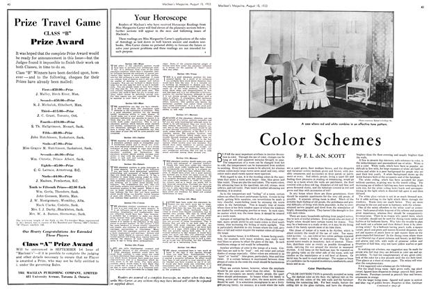 Article Preview: Color Schemes, August 15th 1933 1933 | Maclean's