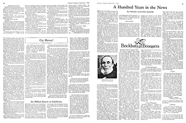 Article Preview: Brickbats and Bouquets, December 1933 | Maclean's