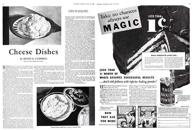 Article Preview: Cheese Dishes, May 15th 1934 1934 | Maclean's