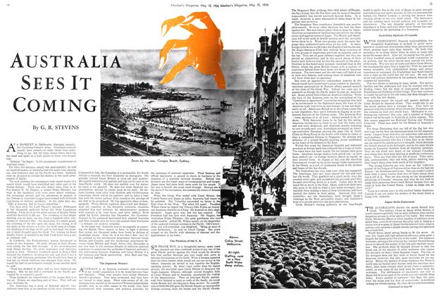 Article Preview: AUSTRALIA SEES IT COMING, May 15th 1934 1934 | Maclean's