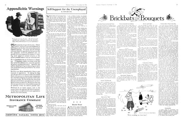 Article Preview: Brickbats and Bouquets, November 1934 | Maclean's