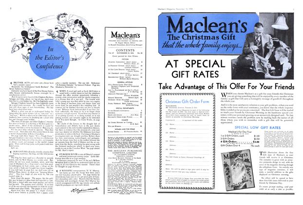 Article Preview: In the Editor's Confidence, November 1934 | Maclean's