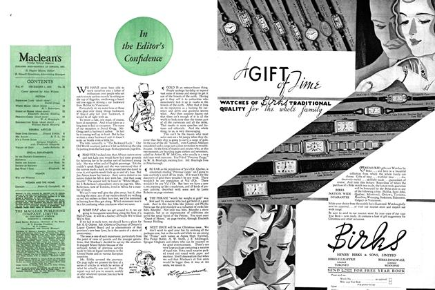 Article Preview: In the Editor's Confidence, December 1934   Maclean's