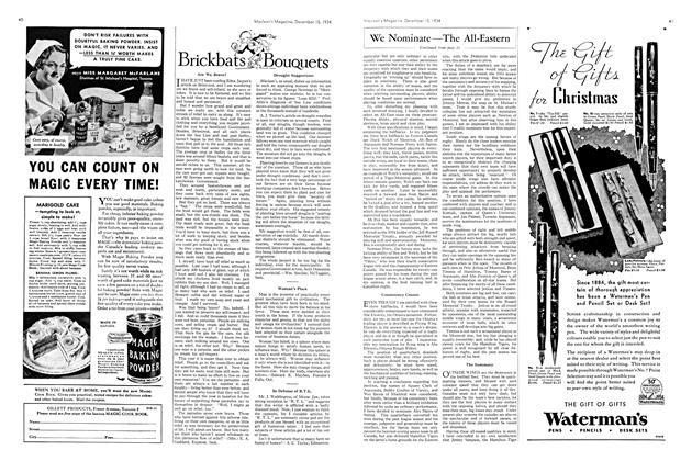 Article Preview: Brickbats and Bouquets, December 1934 | Maclean's