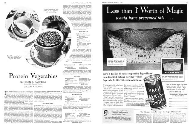 Article Preview: Protein Vegetables, January 15th 1935 1935   Maclean's
