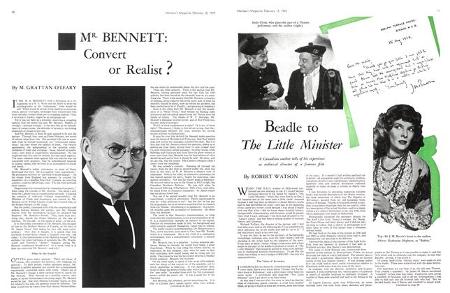 Article Preview: MR. BENNETT: Convert or Realist?, February 1935 | Maclean's