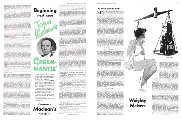 Article Preview: Weighty Matters, August 1st 1935 1935 | Maclean's