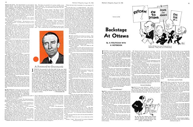 Article Preview: Backstage At Ottawa, August 1935 | Maclean's