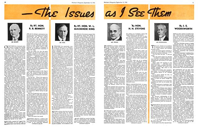 Article Preview: The Issues as I See Them, September 1935 | Maclean's