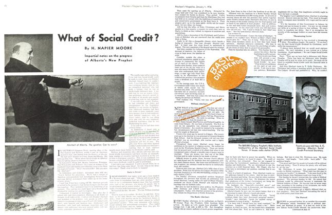 Article Preview: What of Social Credit?, Jan. 1st 1936 1936 | Maclean's