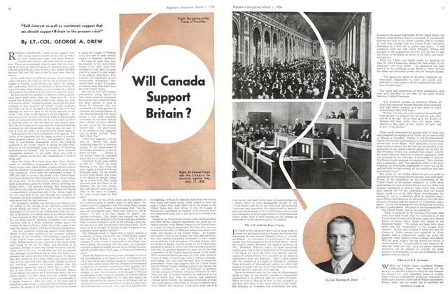 Article Preview: Will Canada Support Britain?, March 1st, 1936 1936 | Maclean's