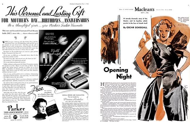 Article Preview: Opening Night, May 1st, 1936 1936 | Maclean's