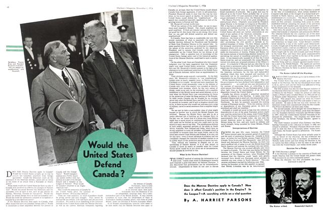 Article Preview: Would the United States Defend Canada?, November 1st, 1936 1936 | Maclean's