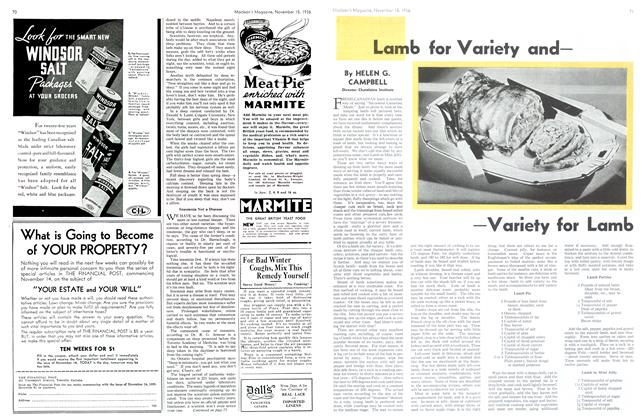 Article Preview: Lamb for Variety and—Variety for Lamb, November 1936 | Maclean's